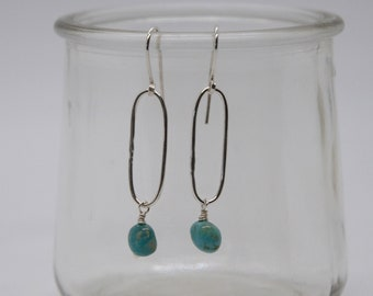 Minimalist Earrings of Kingman Turquoise and Tarnish-resistant Argentium Sterling Silver