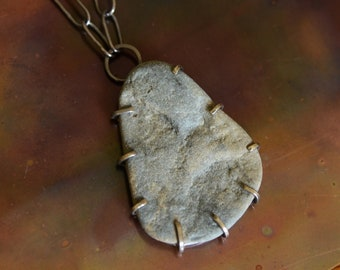 Morning Tide Maine Coast Beachstone #4 Freeform Sterling Silver Prong Setting, Hand-formed Oxidized Sterling Chain, Completely Made by Hand