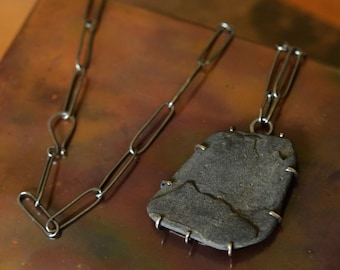 Morning Tide Maine Coast Beachstone #3 Freeform Sterling Silver Prong Setting, Handmade Oxidized Sterling Chain, Completely Made by Hand