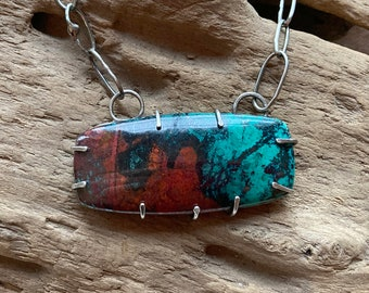 Sonora Sunrise Chrysocolla Statement Necklace, Hand-fabricated Argentium Sterling Silver Chain and Prong Setting