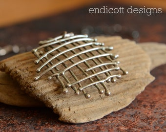 Free-form Fused Pendant of Oxidized Argentium Sterling Silver, Artisan Created, One of a Kind, Rustic Jewelry