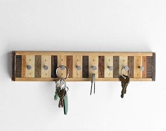 8 Hook Key Rack / Jewelry Rack Reclaimed Wood - Chonko Style