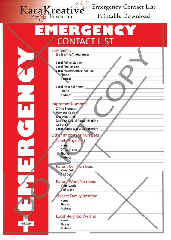 This is an image of Printable Emergency Contact List intended for daycare