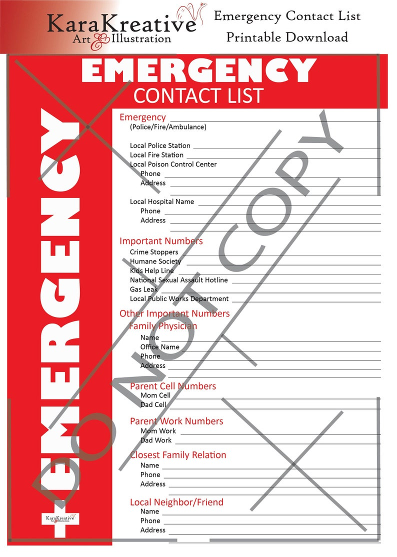 picture regarding Printable Emergency Contact List titled Crisis Get hold of Record Printable Down load