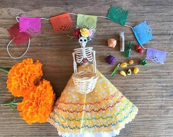 YELLOW FLORAL DRESS Catrina Doll Ornament Dia de Los Muertos, Day of the Dead