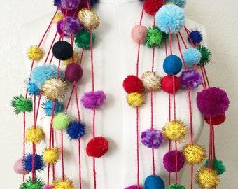 Colorful Pom Pom Garland 9 feet