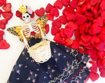 Catrina Ornament, blue floral dress, day of the dead, dia de los muertos