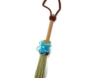 Mini Broom Ornament #13 with Blue Flower