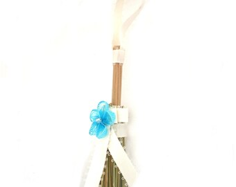 Mini Broom Ornament #12 with Blue Flower
