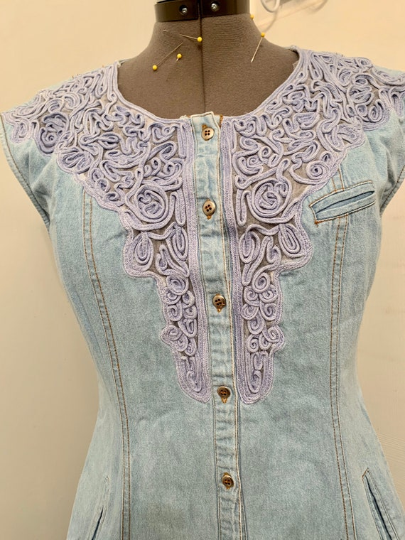 Sexy Cowgirl Vintage Denim Western Dress / Embroi… - image 1