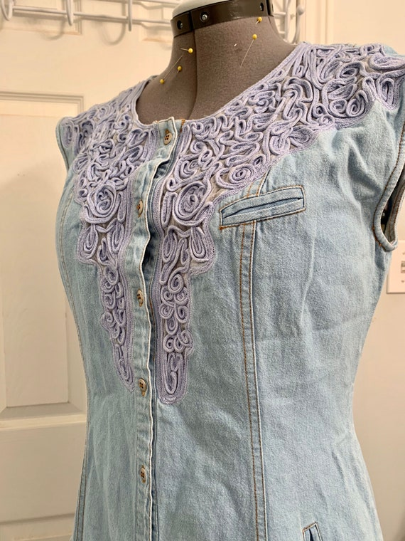 Sexy Cowgirl Vintage Denim Western Dress / Embroi… - image 10