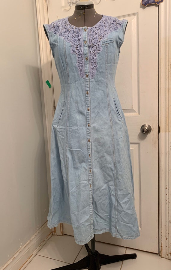 Sexy Cowgirl Vintage Denim Western Dress / Embroi… - image 6