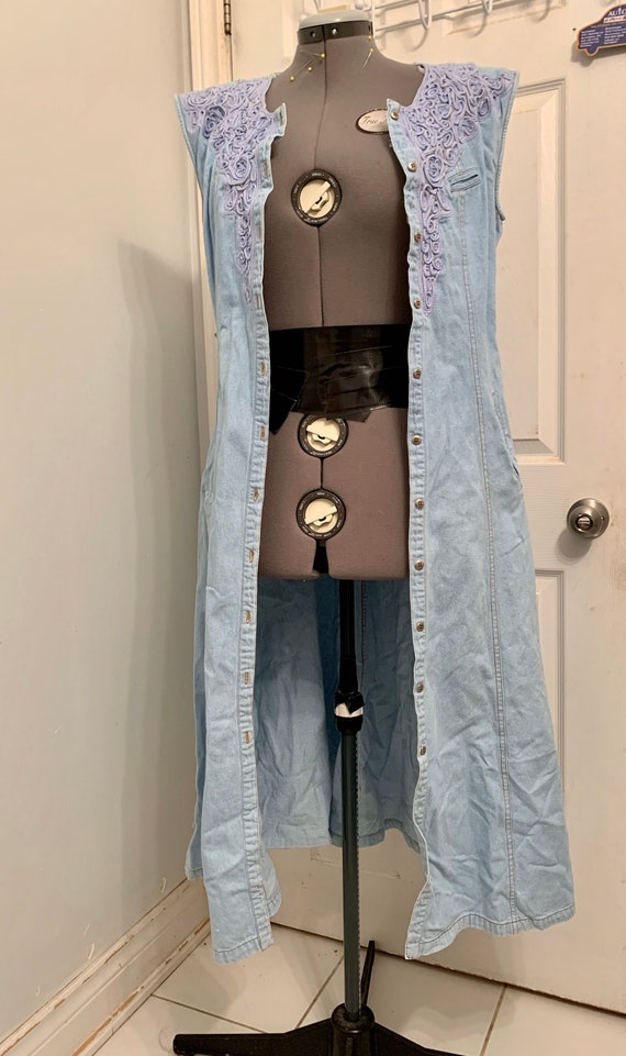 Sexy Cowgirl Vintage Denim Western Dress / Embroi… - image 2