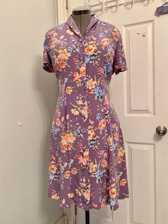 Lavender Floral Spring Button Up Silk Day Dress