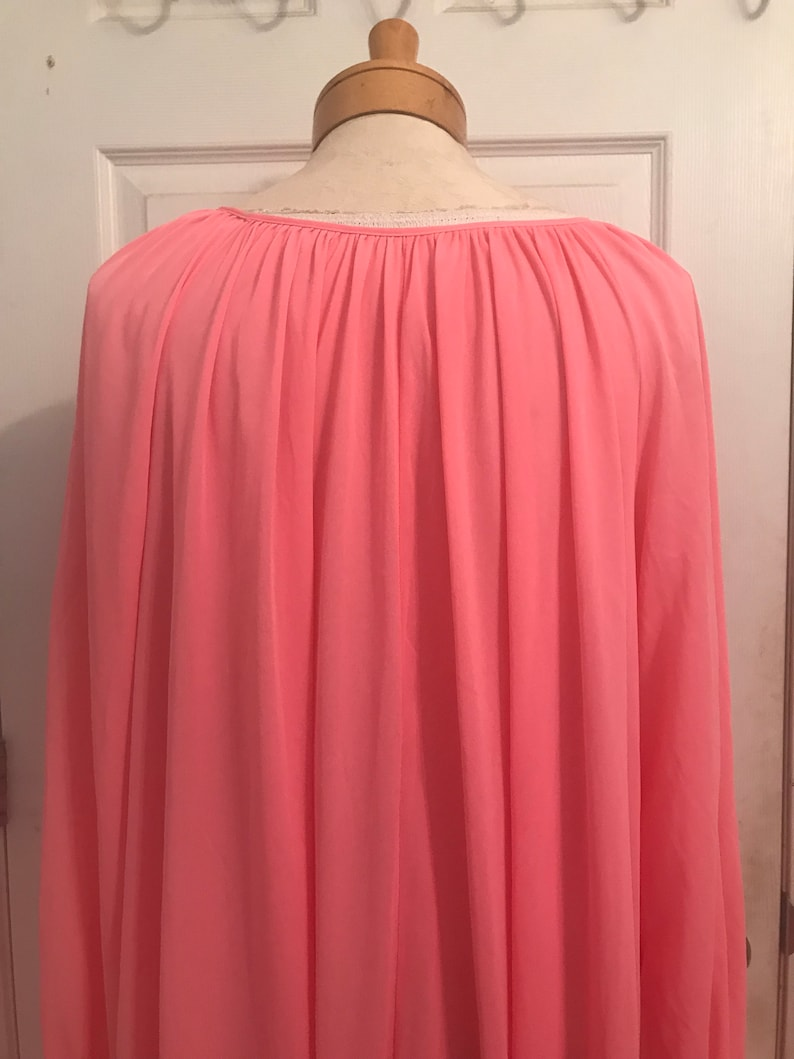 Groovy Barbie Pink Voluminous Flowing Gathered Neck Draped Long Sleeve Nylon Vintage 60s Extra Tall Nightgown Large One Size