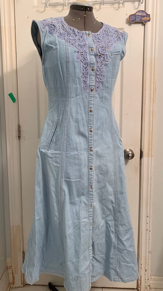 Sexy Cowgirl Vintage Denim Western Dress / Embroi… - image 3
