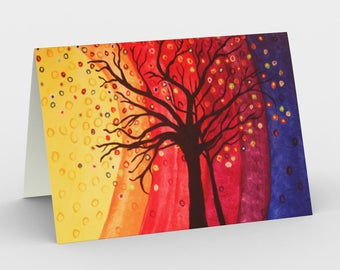 Rainbow Tree  Canadian artist print gift idea art print abstract tree greeting card bright set of 3 cards