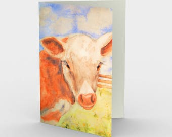 Baby Calf Cow Canadian artist print gift idea art print abstract tree greeting card set of 3