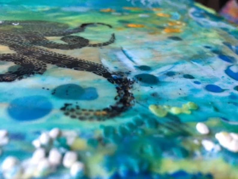 Octopus Original Encaustic painting  3D Textural Piece 10 x 10 on wood panel Underwater