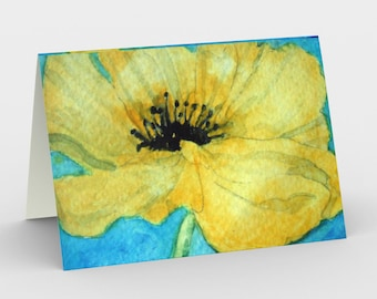 Yellow poppy Flower Abstract set Canadian artist print gift idea art print abstract tree greeting card Set of 3