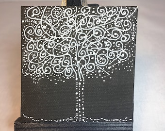 Handpainted Tree of Life painting ORIGINAL Mini  3 X 3 inch  Black & White Series with stand Constellation Series OOAK