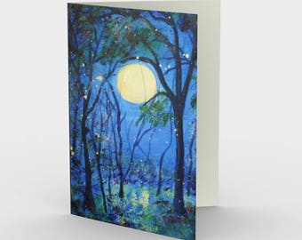 Fireflies Abstract Blue Moon with Fireflies Blank Greeting Cards Tree Set of 3
