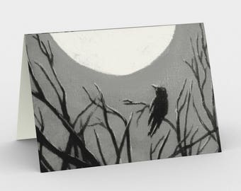 Grey Raven Crow  Moon Canadian Art Blank Greeting Cards Tree Set of 3