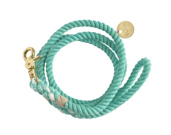 MINT LEASH: Hand Dyed Cotton Rope Pet Leash for Cats and Dogs with Brass Metal Hardware