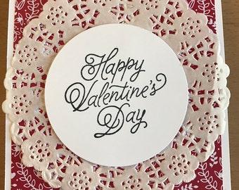 Doily Happy Valentine's Day, Valentine's Day card