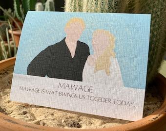 Mawage Wedding, Princess, Bride, Groom, Greeting Card