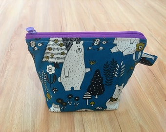 Handmade Toiletry Cosmetic Makeup wet bag lined with nylon