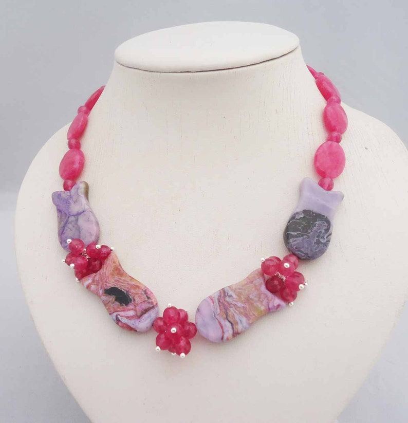 Pink Kyanite Necklace Statement Necklace Kyanite and Jasper Gemstone Necklace Jasper Necklace