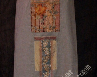 muted mint linen apron with silk pockets