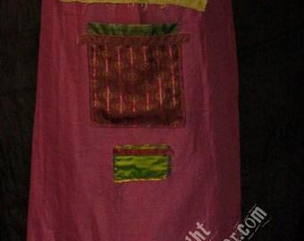 fuchsia pink linen apron
