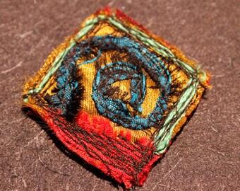 mini spiral silk brooch