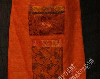 burnt orange linen apron