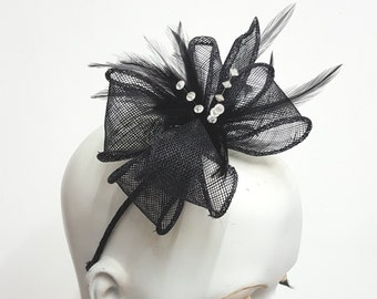 Black sinamay fascinator with  feathers and crystals headband fixing  wedding races