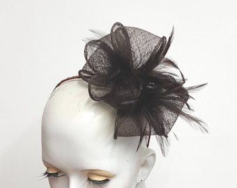 Chocolate brown fascinator sinamay loops and feathers headband fixing ideal wedding and races