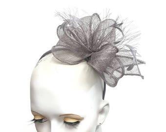 Grey sinamay fascinator with feathers headband fixing ideal wedding races