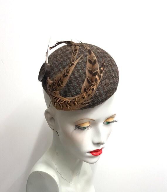 Grey Tweed Brown Pheasant Feather Hat Hair Fascinator Cheltenham Races 7062