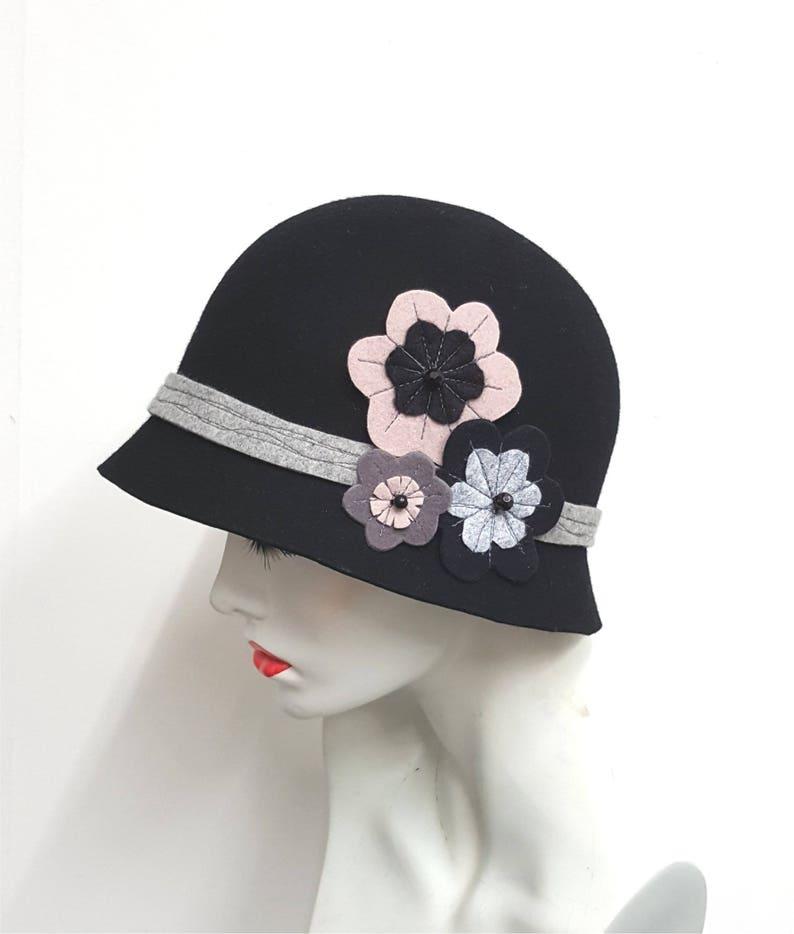 164d6e29c Black cloche hat ,wool felt hat, flapper style, felt flowers, floral  applique decoration, winter hat, made in UK