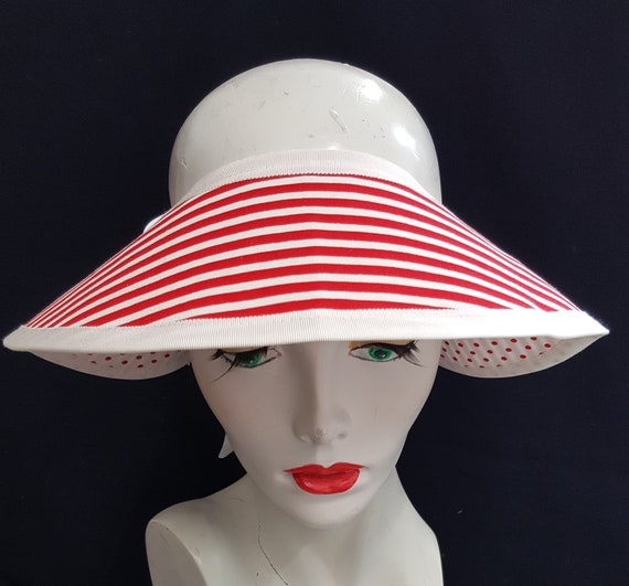 263635220ba Red white stripes sunhat with polka dots Brim only crownless