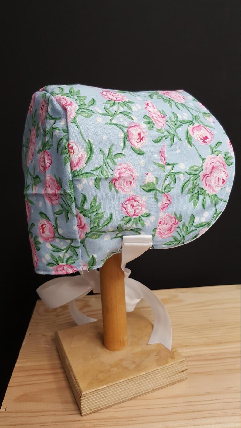 Vintage style sun hat  large brim Baby poke bonnet sunhat 19-20 inch age 0-6 months age UK made Pink roses cotton Newborn summer hat