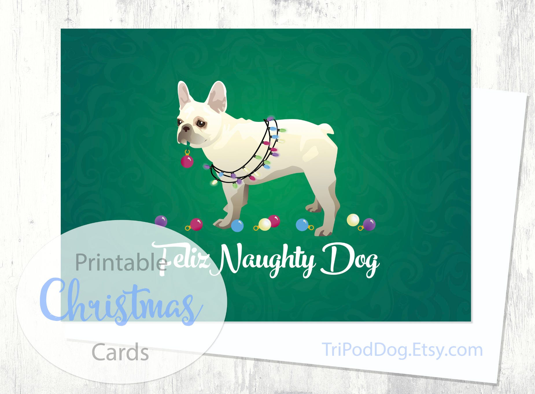 French Bulldog Christmas Card Digital Download Printable | Etsy