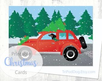 Dachshund Christmas Card - Christmas Car - Digital Download Printable