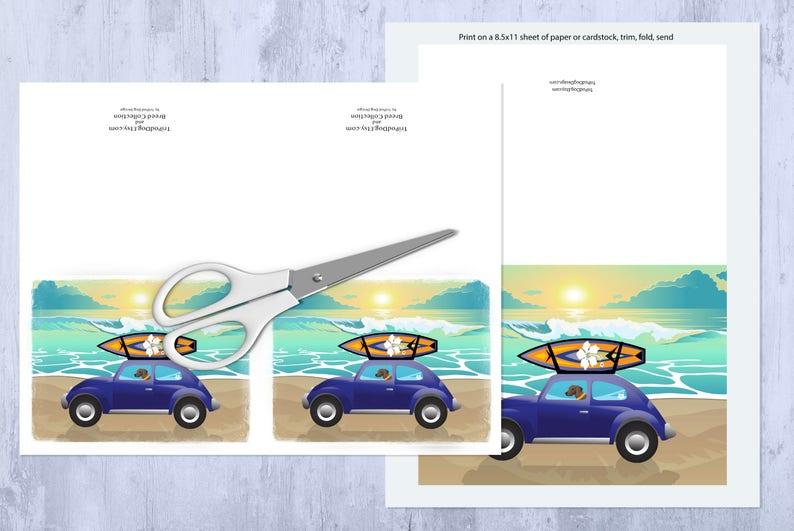 Brindle Brown Plott Hound Beach Scene Greeting Card Digital Download Printable