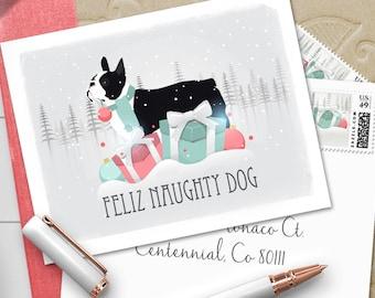 Boston Terrier Feliz Naughty Dog Pastel Design