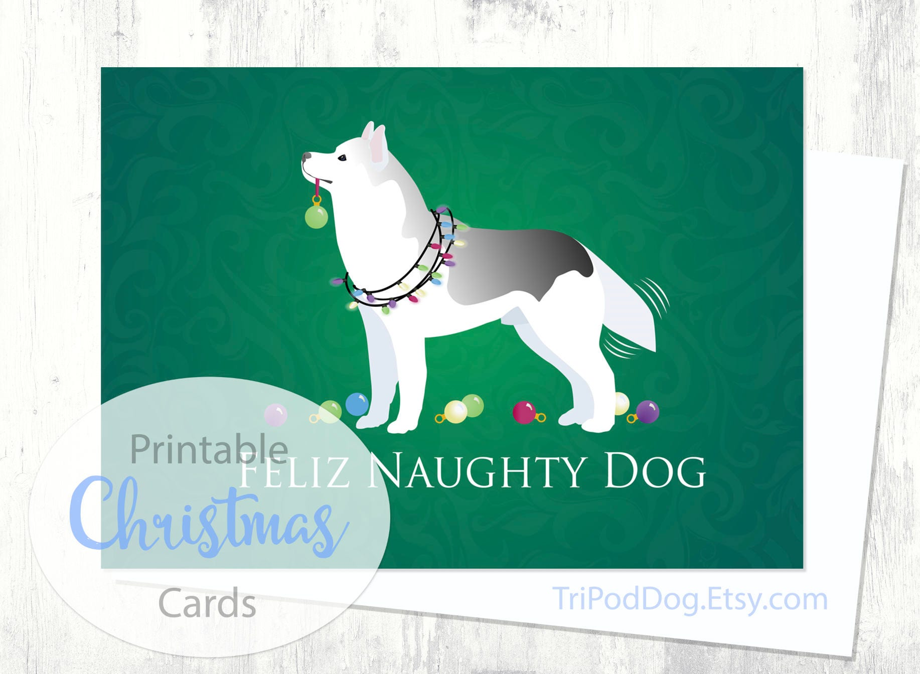Dog Christmas card INSTANT DOWNLOAD Dog lovers Christmas card Print at home Siberian Husky Digital item