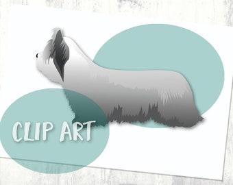 Skye Terrier Basic Dog Breed Silhouette Clip Art
