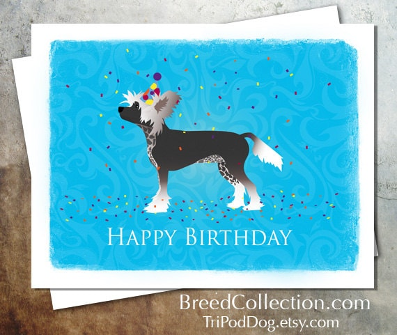 Chinese Crested Dog Birthday Card From The Breed Collection Etsy
